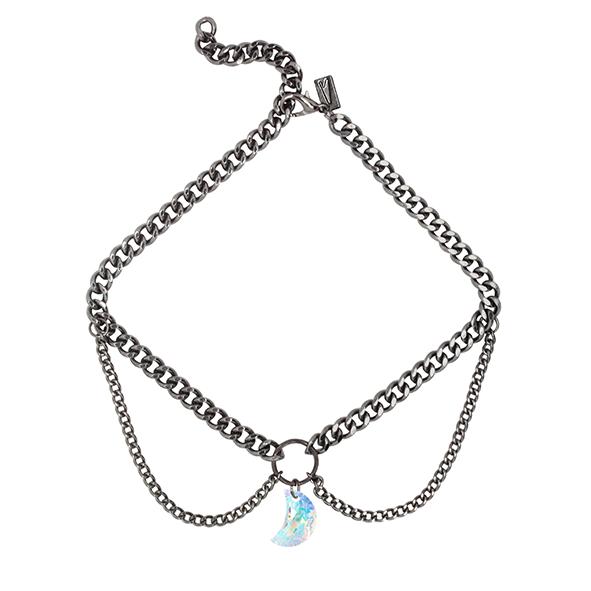 VORTEX. GUNMETAL & CRYSTAL CHAIN CHOKER - REGALROSE | SHOP Fashion Jewellery & Accessories