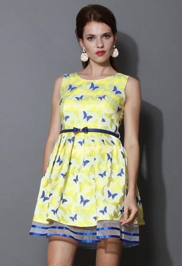 chicwish yellow dress belted