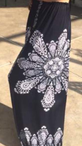 skirt blue black white pattern design maxi skirt