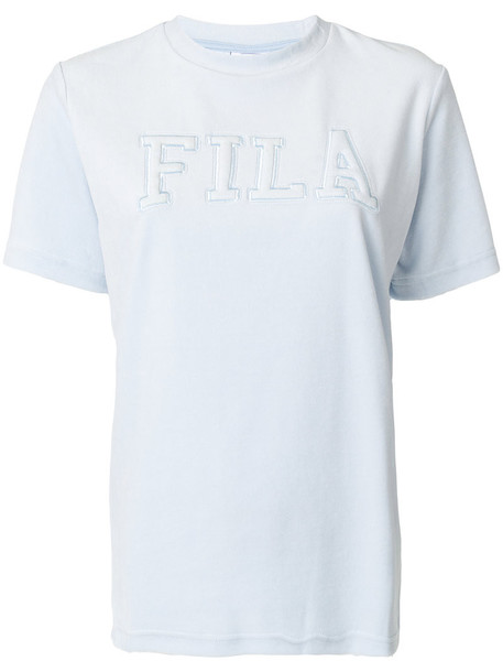 Fila - logo embroidered knitted top - women - Cotton/Polyester - S, Blue, Cotton/Polyester