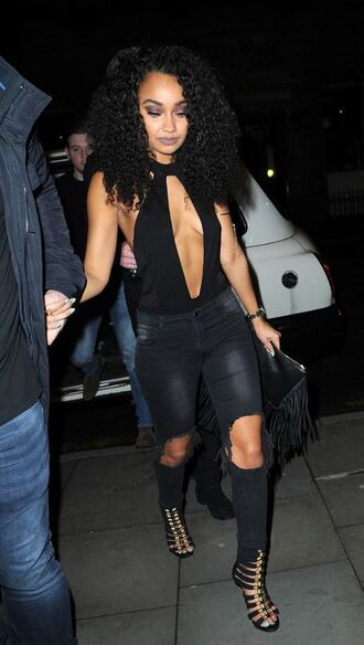 top keyhole dress plunge v neck sexy leigh-anne pinnock jeans ripped jeans sandals little mix bodysuit