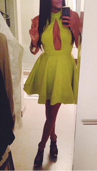 green dress short dress cleavage