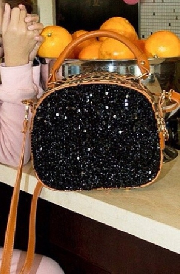 bag black brown leather bag crystal bag handbag purse