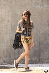 bag,fringe backpack,backpack,black backpack,fringes,t-shirt,number,grey t-shirt,skirt,mini skirt,sneakers,animal print,summer outfits,sunglasses,fashion coolture,blogger