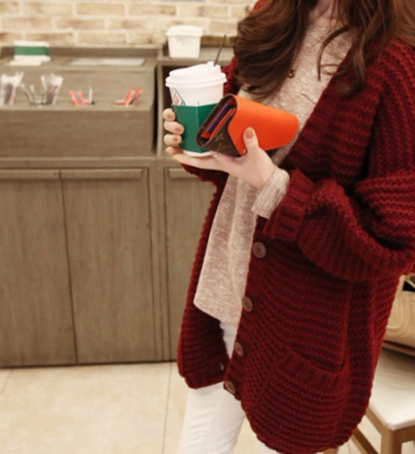 Cardigan: burgundy, knitted cardigan, coat, sweater, cute, fall ...