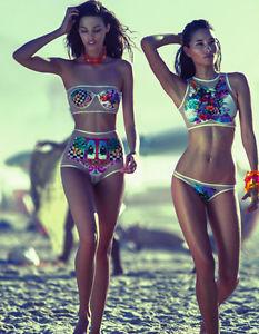 Sexy Womens Neon Floral Print Lace Mesh Bikini Set Swimwear Swimsuit Bathingsuit