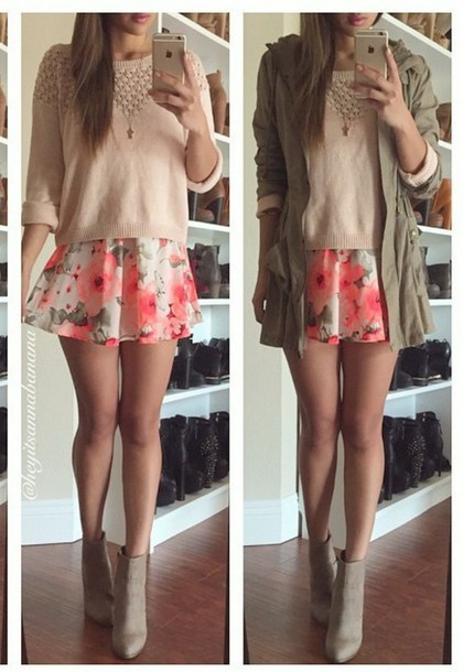jacket greenish style skirt sweater jewels pink blouse floral skirt