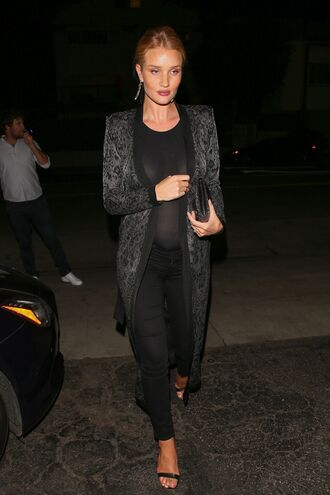 coat pants top rosie huntington-whiteley model off-duty maternity spring outfits cardigan