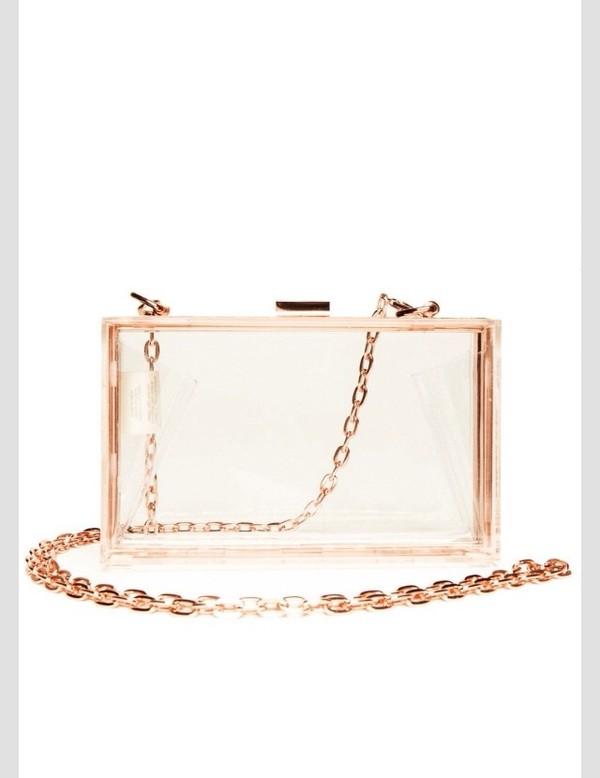 bag purse rose gold clear purse clutch
