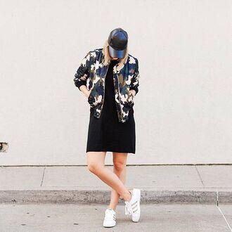 jacket black cap tumblr camouflage dress black dress mini dress sneakers low top sneakers white sneakers adidas adidas shoes adidas superstars cap sporty