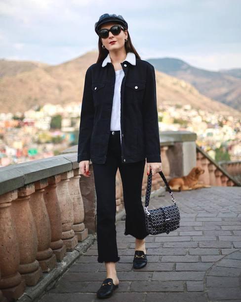 jeans tumblr black jeans cropped jeans frayed denim shoes black shoes mules jacket black jacket hat fisherman cap bag