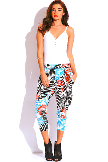 Tropical palm print pocketed tapered jersey harem parachute lounge pants