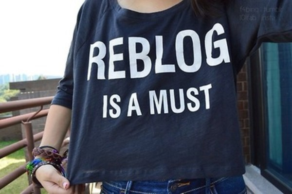 shirt t-shirt rebolg tumblr crop tops black crop tops t-shirt navy navy tumblr shirt reblog