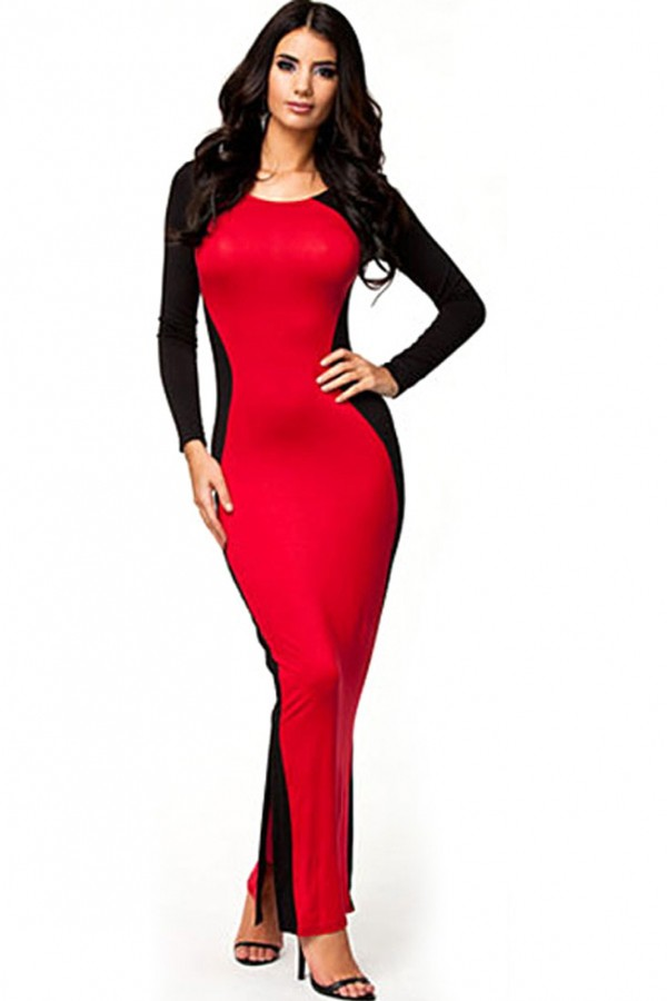 Elegant Party Two Faced Contrast Maxi Evening Dress ...