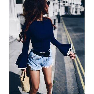 top tumblr blue top long sleeves ruffle ruffled top bell sleeves denim shorts blue shorts bag nude bell sleeve sweater ruffle sweater
