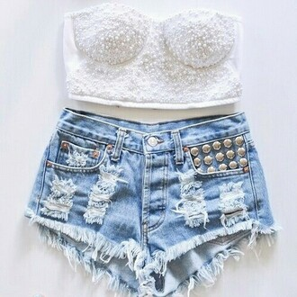 shorts stud jeans fashion denim cute top