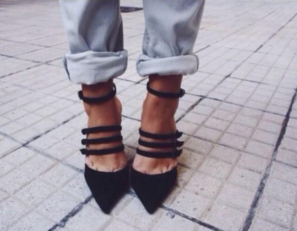 shoes black heels strappy black heels