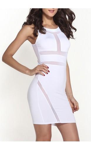 White sexy mesh bandage illusion mini dress