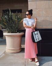 t-shirt,white t-shirt,skirt,pink skirt,loafers,white loafer,top,shoes