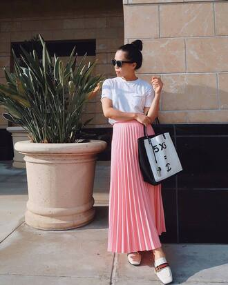 t-shirt white t-shirt skirt pink skirt loafers white loafer top shoes