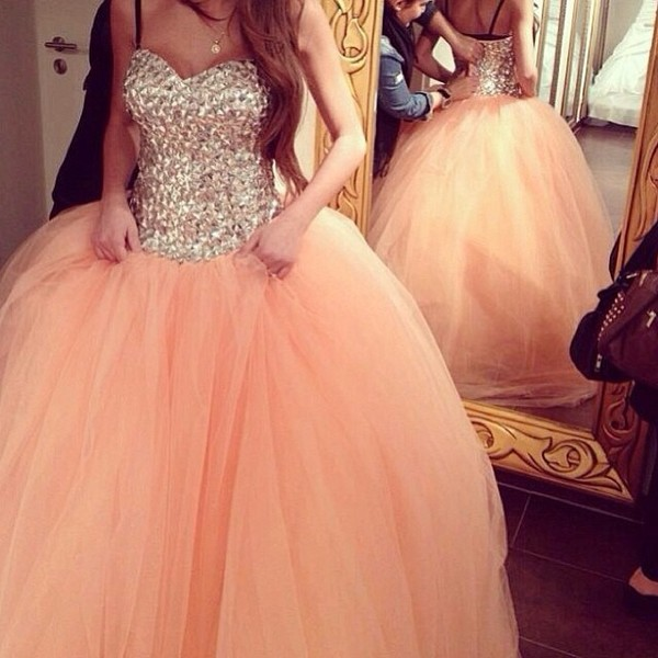 dress prom dress puffy long prom dress coat sparkle sparkly dress pretty peach peach dress ball gown dress