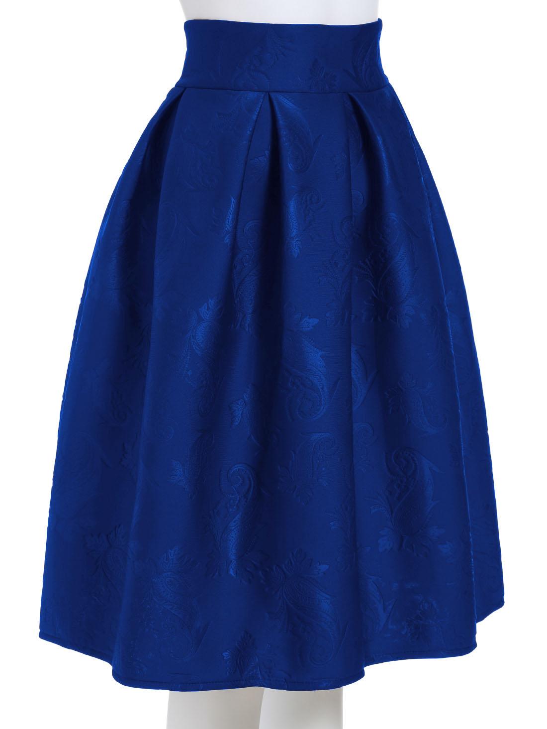 Blue Jacquard Flare Midi Skirt -SheIn(Sheinside)