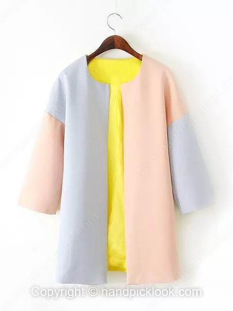 Yellow Three Quarter Length Sleeve Loose Fashion Coat - HandpickLook.com