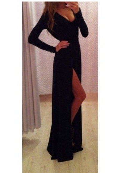 dress maxi dress black maxi dress black long dress fashion prom dress elegant black dresses black prom dress long prom dresses long sleeve dress long prom dress long evening dresses black maxi sleeves