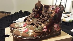 Dr martens doc martens victorian flowers floral brown boots us 6