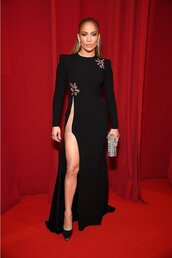 dress,slit dress,celebrity style,celebrity,pumps,jennifer lopez,black dress,red carpet dress,red carpet