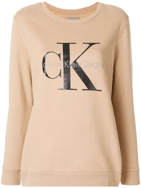 Calvin Klein Jeans sweatshirt women nude cotton print sweater