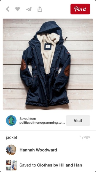 jacket blue rain jacket with brown elbow patches coat blue