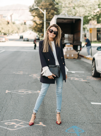 hello fashion blogger jacket sweater shoes sunglasses jewels red shoes tumblr high heels heels blazer blue blazer top white top denim jeans blue jeans office outfits bag black bag