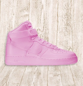 shoes nike air force nike sneakers custom custom shoes air force 1s af 1 af high all pink pink pink sneakers sportswear new swag ootd outfit lotd style high top kape pastel high top sneakers