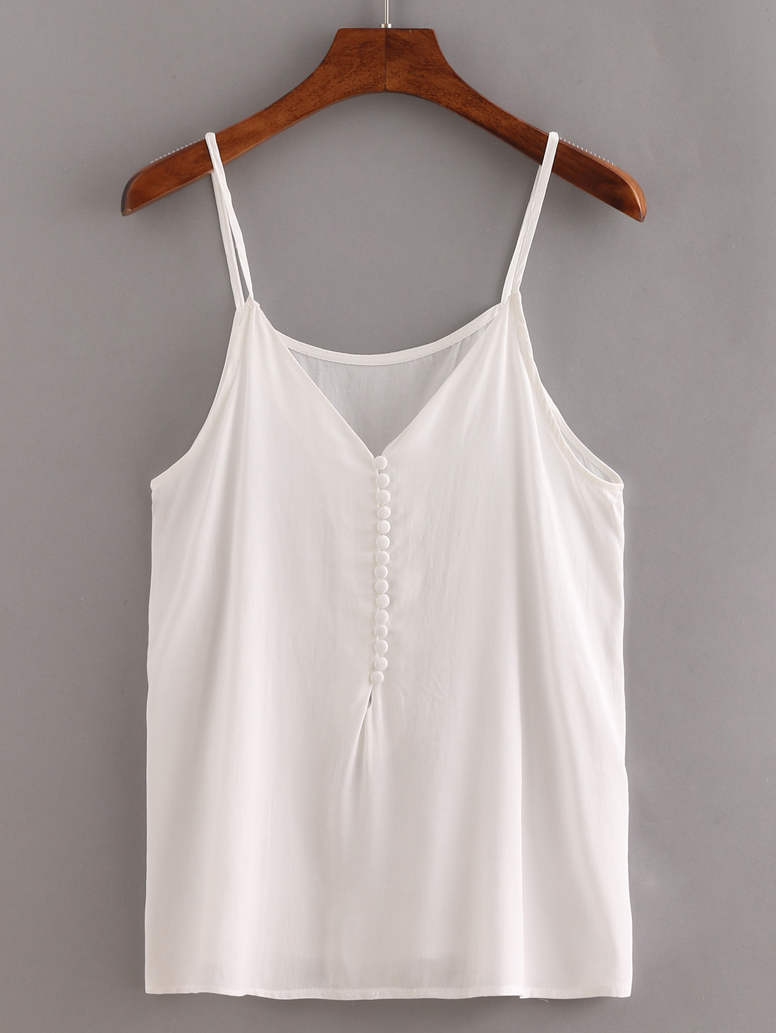 V-Neck Buttoned Front Cami Top - White -SheIn(Sheinside)