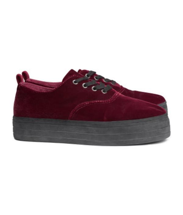 shoes platform shoes sneakers platform sneakers flatforms burgundy creepers platform shoes