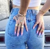 jewels,ring,bracelets,jeans,virgin mary hand chain,hand chain,virgin mary,gold hand chain,jesus christ,gold,cuff bracelet,slave bracelet,chain ring bracelet