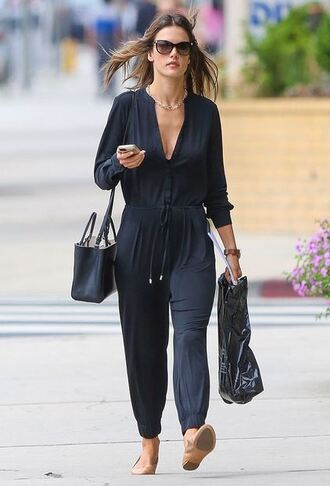 jumpsuit summer outfits alessandra ambrosio flats