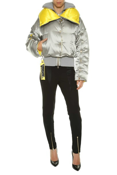 VERSACE jacket down jacket silver yellow