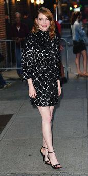 dress,emma stone,celebrity,sandals,mini dress