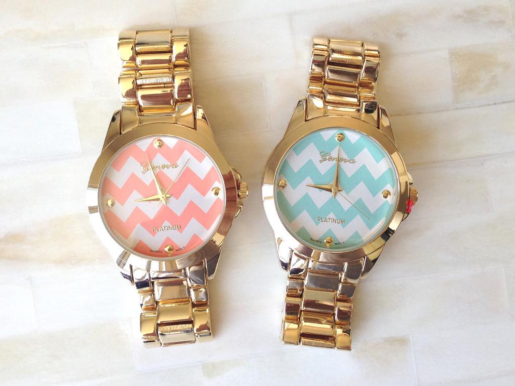 Chevron Gold Bracelet Watch