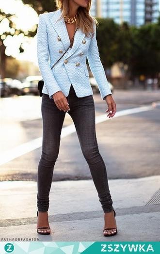 jacket blazer sky blue smart elegant stylish fashion blue sweater