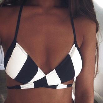swimwear black white stripes one piece bikini straps strappy cute love summer tan cut-out cut-outs warm weather