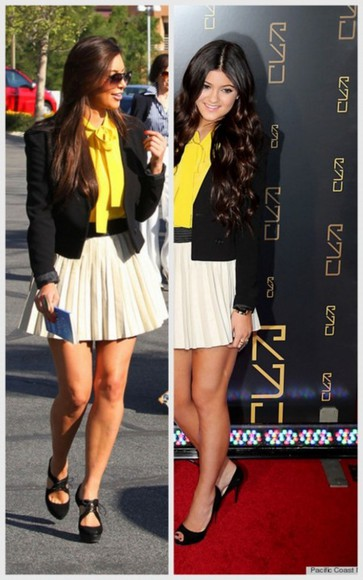 skirt white skirt fashion kardashian pleated skirt yellow shirt blazer classy summer celebrity swag red carpet kim kardashian kendall jenner kylie jenner