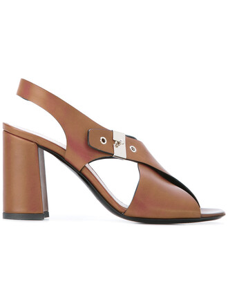 heel high women sandals leather brown shoes