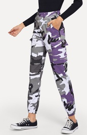 pants,girly,girl,girly wishlist,camouflage,camo pants,purple,cute,sweatpants,joggers,joggers pants