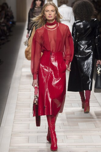 skirt midi skirt blouse romee strijd model red runway milan fashion week 2017 fashion week 2017