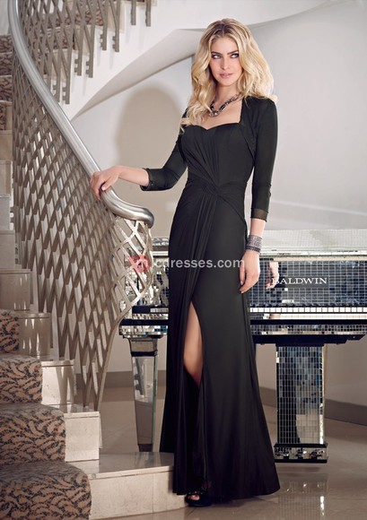 a-line floor chiffon square mother of the bride dresses front split