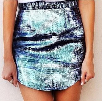 skirt metallic blue skirt snake skin leather