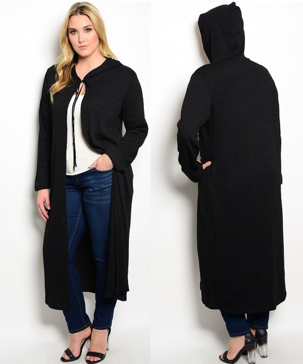 Women Plus Size Hoodie Long Cardigan Sweater Tunic Duster Jacket ...
